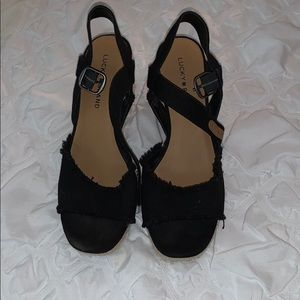 Worn once! Lucky brand wedges size 9